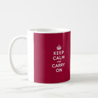 Crimson Red Keep Calm and Carry On (white text) Basic White Mug
