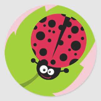 Crimson Red Ladybug Round Sticker