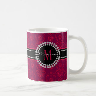 Crimson Red, Magenta Damask, Name and Monogram Coffee Mug