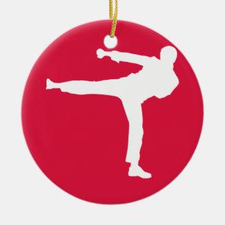 Crimson Red Martial Arts Round Ceramic Decoration