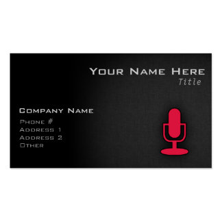 Crimson Red Microphone Pack Of Standard Business Cards