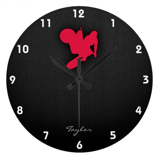 Crimson Red Motocross Large Clock