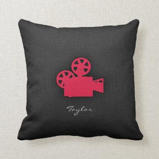 Crimson Red Movie Camera Cushion