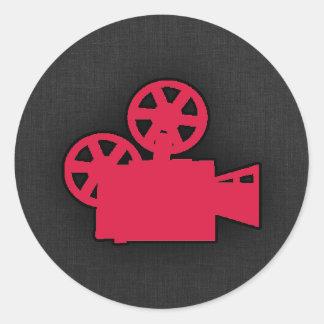 Crimson Red Movie Camera Round Sticker