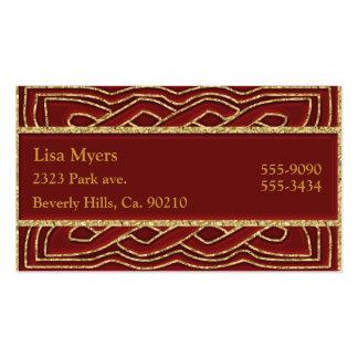 Crimson Red & Ornate Metallic Gold Business Cards