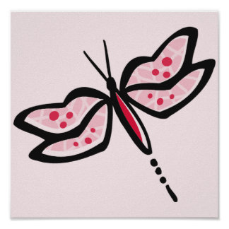 Crimson Red Pink Dragonfly Print