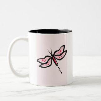Crimson Red & Pink Dragonfly Two-Tone Coffee Mug