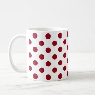 Crimson Red Polka Dots Circles Basic White Mug