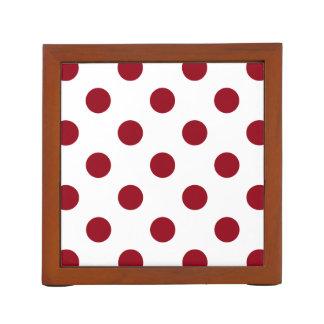 Crimson Red Polka Dots Circles Desk Organisers