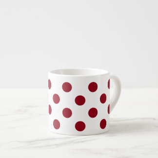 Crimson Red Polka Dots Circles Espresso Mug
