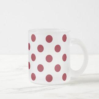 Crimson Red Polka Dots Circles Frosted Glass Mug