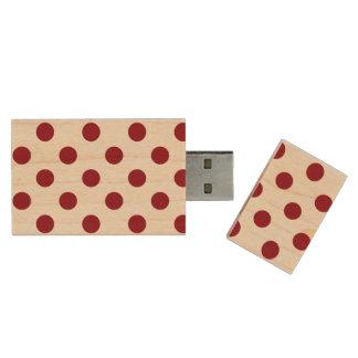 Crimson Red Polka Dots Circles Wood USB 3.0 Flash Drive