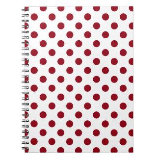 Crimson Red Polka Dots Circles Notebook