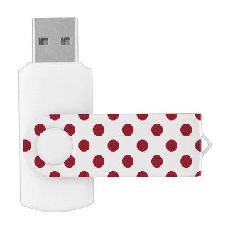 Crimson Red Polka Dots Circles Swivel USB 3.0 Flash Drive