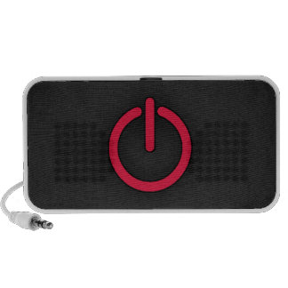 Crimson Red Power Button iPod Speakers