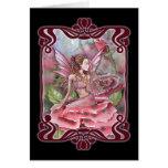 Crimson Red Rose Fairy Blank Card