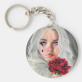 Crimson red rose gothic mime girl Keychain