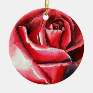 Crimson Red Rose watercolor original art macro Round Ceramic Decoration
