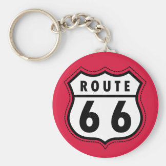 Crimson Red Route 66 Road Sign Basic Round Button Key Ring