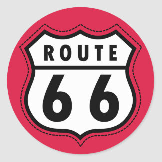 Crimson Red Route 66 Road Sign Classic Round Sticker