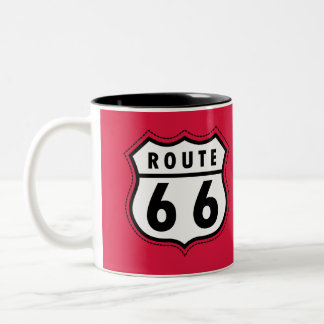 Crimson Red Route 66 Road Sign Two-Tone Coffee Mug