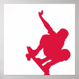 Crimson Red Skateboard Poster