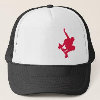Crimson Red Skateboard Trucker Hat