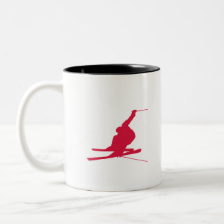 Crimson Red Snow Ski Two-Tone Coffee Mug