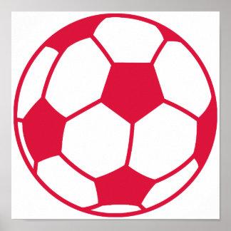 Crimson Red Soccer Ball Print