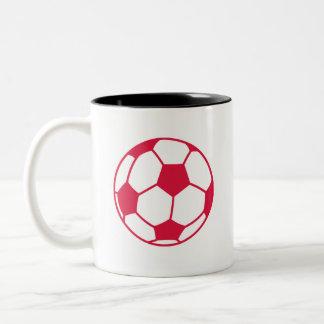 Crimson Red Soccer Ball Two-Tone Coffee Mug