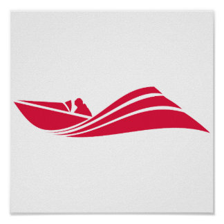 Crimson Red Speed Boat Posters