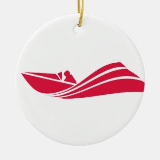 Crimson Red Speed Boat Round Ceramic Decoration