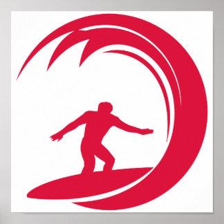 Crimson Red Surfing Poster
