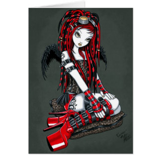 """Crimson"" Red Tattoo Cyber Goth Angel Card"
