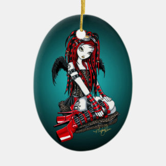 """Crimson"" Red Tattoo Cyber Goth Angel Ornament"