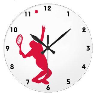Crimson Red Tennis Clock