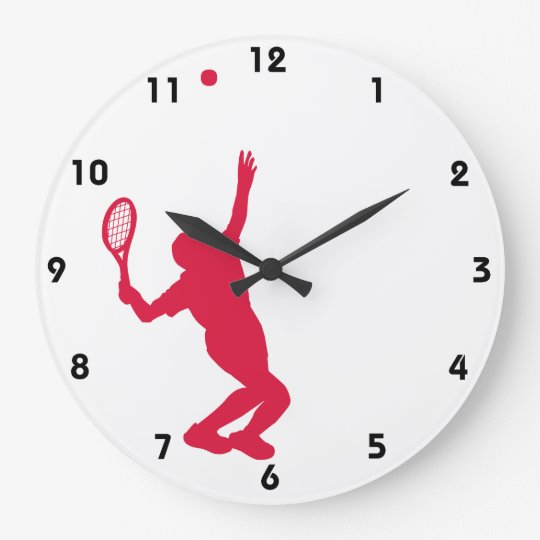 Crimson Red Tennis Large Clock