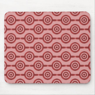 Crimson Red Trendy Circles Mousepad