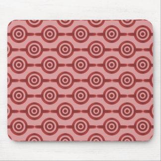 Crimson Red Trendy Circles Mousepad
