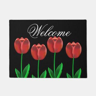 Crimson Red Tulips Welcome Doormat