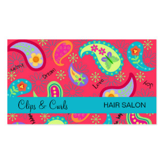 Crimson Red Turquoise Blue Modern Paisley Pattern Pack Of Standard Business Cards