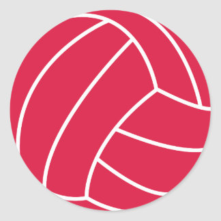 Crimson Red Volleyball Classic Round Sticker