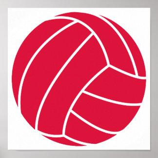 Crimson Red Volleyball Print