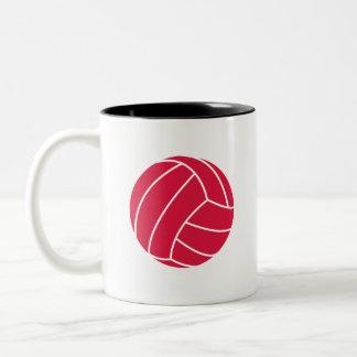 Crimson Red Volleyball Two-Tone Coffee Mug