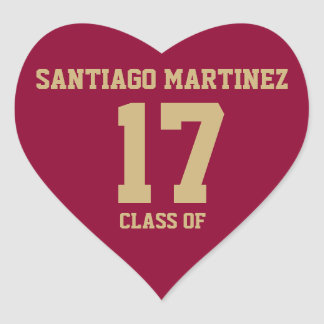 Crimson Red with Gold Text Graduation Sticker