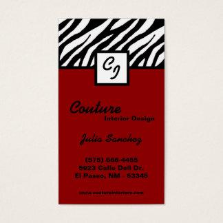 Crimson Red Zebra Print Personalize Business Card