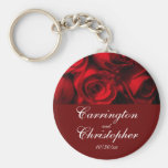 """Crimson Rose Bouquet"" - Personalised [a] Basic Round Button Key Ring"
