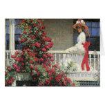 Crimson Rose Flowers Fine Art Card