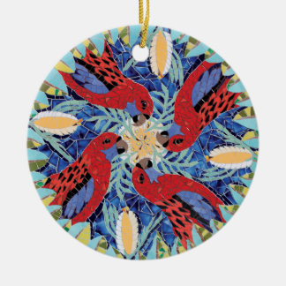 Crimson Rosellas Mosaic Christmas Ornament