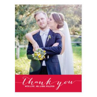 Crimson Script Wedding Thank You Vertical Postcard